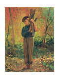 Boy Holding Logs  1873