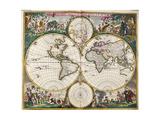 World Map (Nova Orbis Tabula) from 'Nicolass Visscher Atlas Minor' C1719