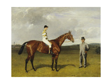 'Mimi' with Rickaby Up with Her Trainer  Mr Matthew Dawson  1891