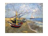 Fishing Boats on the Beach at Saintes-Maries-De-La-Mer Reproduction d'art par Vincent Van Gogh