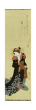 A Standing Courtesan in a Black Kimono with White Flowerheads Holding a Wad of Paper