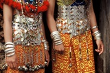 Silver Decorations of Dayak Iban Girls  Including Coins of Queen Victoria  Sarawak  Malaysia