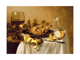 A Still Life with a Roemer  a Crab and a Peeled Lemon on a Pewter Plate  a Bunch of Grapes  a…