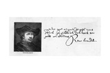 Handwriting and Signature of Rembrandt from a Letter to Constantine Huygens Requesting Payment of…