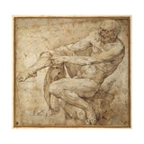 Naked Man Pulling on His Hose  after Marcantonio Raimondi and Michelangelo Buonarroti