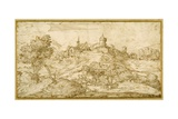 Mountainous Landscape with a Walled Hill Town: a Shepherd Accosted as He Tends His Flock in the…