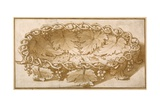 Design for an Oval Fruit Bowl  with Vine Tendrils  Leaves and Grapes