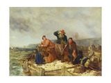 Fishermen on a Quay During a Storm