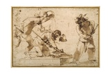 Satirical Subject with Characters from the Commedia Dell'Arte