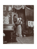 Artist Mary Tillinghast Painting a Portrait in Her Studio  New York  C1897