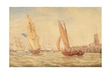 Three Sloops of War and a Fishing Smack Going into Habour  Portsmouth  C1800-30