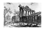 View of the Temple of Concord with the Arch of Septimius Severus and the Church of Santa Martina …
