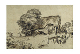 A Thatched Cottage by a Large Tree  a Figure Seated Outside  C1648-52