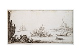A Galley Rammed Amidships by a Man-O'-War under Sail Within Sight of Harbour  C1617