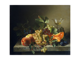 A Still Life with Fruit on a Stone Ledge  1858