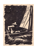 Illustration for 'The Old Man and the Sea' by Ernest Hemingway  C1950s