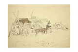 Lapps and Reindeer Beside Huts  North Norway  C1850
