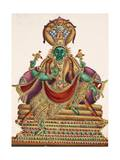Vishnu  Sheltered by the Five-Headed Shesha  One of the Primal Beings of Creation  from…