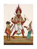 A Depiction of King Ravana with a Rakshasa or Demon to His Left and Sita to His Right  from…