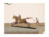 An Indian Noble Riding a Horse with an Attendant Behind  from Thanjavur  India