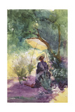 A Lady Sketching in a Glade under the Shade of a Parasol