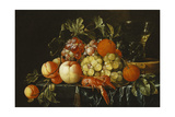Peaches  Oranges  Grapes and Langoustines on a Pewter Plate and a Conical Roemer on a Box on a…