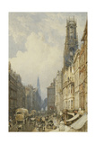 Fleet Street Looking Up to Temple Bar with Old St Dunstans  and St Clement Danes  1834