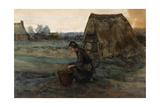 A Kneeling Peasant Woman in Front of a Hut; Paysanne Agenouillee Devant Une Cabane  1883