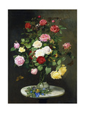 A Bouquet of Roses in a Glass Vase by Wild Flowers on a Marble Table  1882