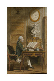 Monsieur De Cormainville in His Library  Writing at His Desk