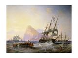 British Men O' War Off Gibraltar  1855