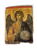 An Icon with the Image of the Archangel St Michael Holding a Staff and a Globe Surmounted by the…
