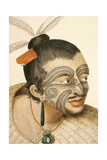 Portrait of a Maori Chief with Full Facial Moko  1769