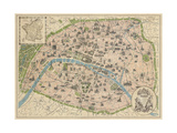 Vintage Paris Map Reproduction d'art par The Vintage Collection