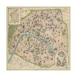 Vintage Paris Map Giclée premium par The Vintage Collection