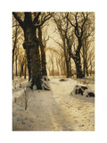 A Wooded Winter Landscape with Deer
