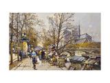 The Rive Gauche, Paris with Notre Dame beyond Giclée par Eugene Galien-Laloue