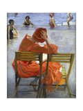 Girl in a Red Dress  Seated by a Swimming Pool