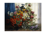 Poppies  Chrysanthemums  Peonies and other Wild Flowers in Glass Vases