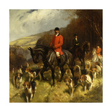 Mr and Mrs Lewis Priestman on Hunters with the Braes of Derwent Hunt in a Landscape