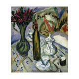 Teapot, Bottle and Red Flowers Giclée par Ernst Ludwig Kirchner