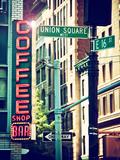 Coffee Shop Bar Sign  Union Square  Manhattan  New York  United States