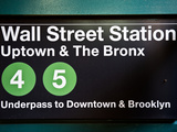 Subway Station Sign  Wall Street Station  Manhattan  New York City  United States