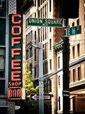 Coffee Shop Bar Sign  Union Square  Manhattan  New York  United States  Vintage Colors