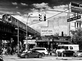 Urban Scene  Coney Island Av and Subway Station  Brooklyn  Ny  US  USA  Black and White Photography