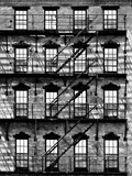 Building Facade in Red Brick, Stairway on Philadelphia Building, Pennsylvania, US Papier Photo par Philippe Hugonnard