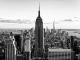 En ville au crépuscule, Empire State Building et One World Trade Center (1WTC), Manhattan, New York Reproduction d'art par Philippe Hugonnard