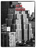 The New Yorker Hotel, Black and White Photography, Red Signs, Midtown Manhattan, New York City, US Papier Photo par Philippe Hugonnard