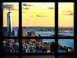 Window View  One World Trade Center (1WTC) at Sunset  Midtown Manhattan  New York