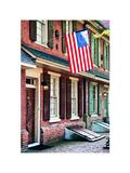Front of House with an American Flag  Philadelphia  Pennsylvania  US  White Frame